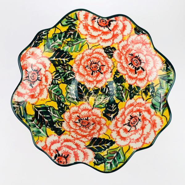 【手工波蘭陶】CA 花邊沙拉碗 湯碗 中 #A81U1472 U5(陶瓷 餐具)