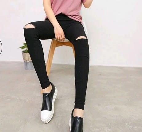 EASON SHOP(GU3146)割破洞黑色內搭褲貼腿庫彈力貼身小黑褲女褲外穿秋裝韓緊身小腳鉛筆長褲窄管褲