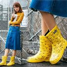 雨鞋 雨鞋 雨靴韓國中筒平底防滑