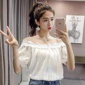 雪紡衫女2018夏季新款正韓漏肩寬鬆泡泡袖蕾絲條紋吊帶一字肩上衣推薦(818來一發)
