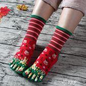 五子襪圣誕襪五指襪純棉襪卡通拇指襪 可愛冬季中筒五指襪女款 圣誕麋鹿伊芙莎