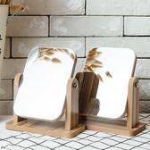 鏡子 新款木質台式化妝鏡子 高清單面梳妝鏡美容鏡 學生宿舍桌面鏡大號  萬聖節禮物