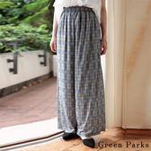 ❖ Autumn ❖ 高腰寬版格紋印花褲 - Green Parks