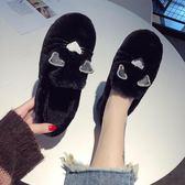 毛毛鞋 毛毛鞋女新款冬季外穿一腳蹬百搭加絨棉鞋網紅懶人白色豆豆鞋