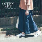 Queen Shop【04060285】側口袋壓線造型大寬褲裙 S/M/L*預購*