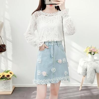 短袖套裝~3830#2021春新款名媛宮廷風洋氣蕾絲衫立體花朵牛仔半裙套裝H311-E胖妞衣櫥