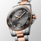 LONGINES 浪琴 深海征服者浪鬼陶瓷潛水機械錶-灰x玫瑰金/41mm(L37813787)