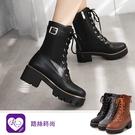 歐美復古英倫風綁帶拉鍊造型低跟個性短靴/...