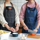 川島屋 日式牛仔創意布藝圍裙韓版時尚面包店廚房家居半身圍裙