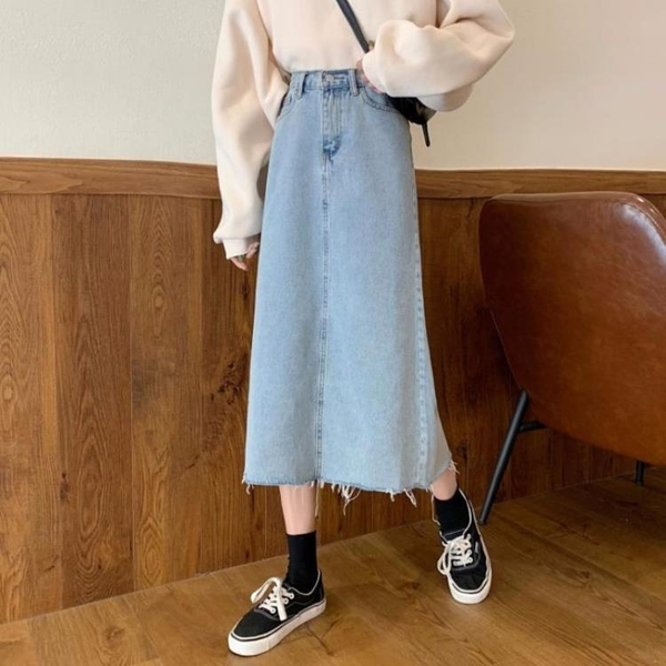 牛仔裙春季韓版ins高腰毛邊寬鬆顯瘦跨大中長款A字牛仔半身裙女 夏季上新