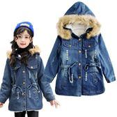 女童外套 加絨兒童牛仔外套 女孩連帽大衣 秋冬保暖大衣 MC15506 好娃娃
