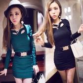 長袖洋裝 春裝新品性感蕾絲修身包臀短裙潮夜店女裝氣質長版連身裙洋裝S-XL 【快速出貨】