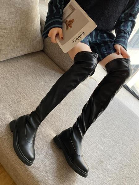膝上靴 長靴女過膝瘦瘦靴2019秋冬季新款平底長筒靴子網紅百搭高筒靴女潮