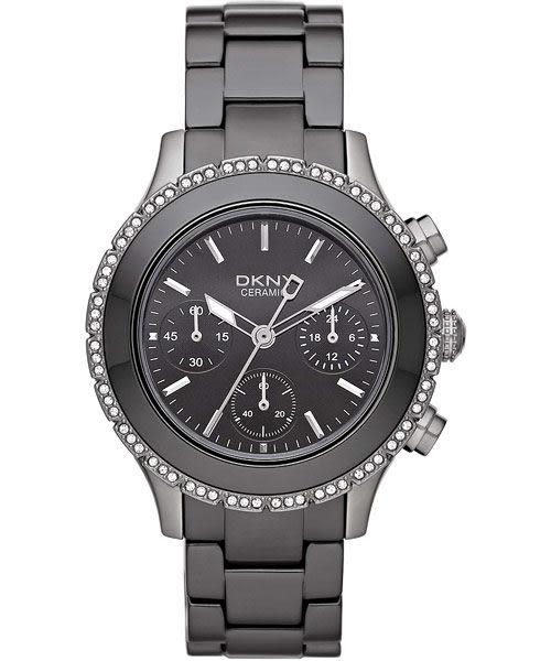 DKNY 陶瓷公主晶鑽計時腕錶/手錶-灰 NY8671