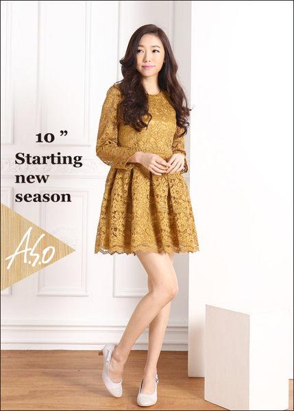 A.S.O 舒適通勤 真皮金蔥編織側結飾中跟鞋  淺灰