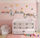 壁貼【橘果設計】交通工具 DIY組合壁貼 牆貼 壁紙 壁貼 室內設計 裝潢 壁貼