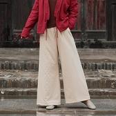 棉麻棉褲復古女冬季夾棉闊腿褲中國風加厚寬松保暖亞麻夾棉直筒褲