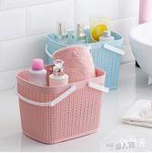 可愛收納洗澡籃子浴筐沐浴藍洗浴框大號軟塑料洗漱籃手提浴室韓國  9號潮人館