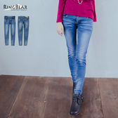 牛仔褲--迷人個性彈力丹寧鑲鑽骷髏鉚釘造型窄管褲/鉛筆褲(XL-7L)-N100眼圈熊中大尺碼