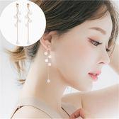 【NiNi Me】韓系耳環 氣質甜美精緻彎曲樹枝珍珠吊飾鋯石流蘇耳環 耳環 N0195