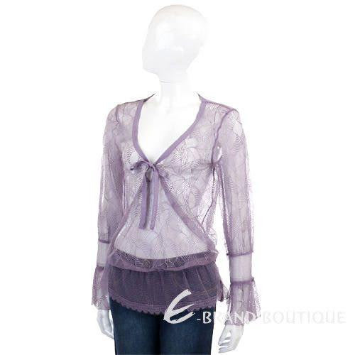 Kristina Ti 紫色網狀蕾絲長袖上衣 0730203-04