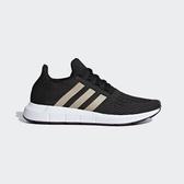 Adidas Swift Run W [B37717] 女鞋 運動 休閒 慢跑 襪套 黑 金 愛迪達