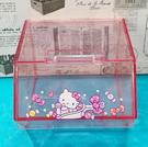 【震撼精品百貨】Hello Kitty_凱蒂貓~三麗鷗 KITTY 掀蓋式透明置物盒-粉#00880