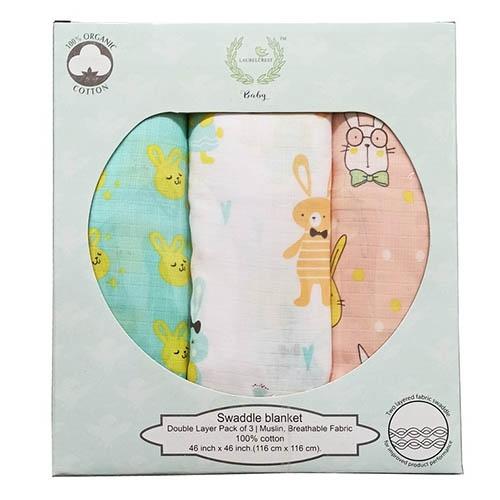 Laurelcrest Baby 有機棉雙層紗布巾三入組 - 都是兔兔