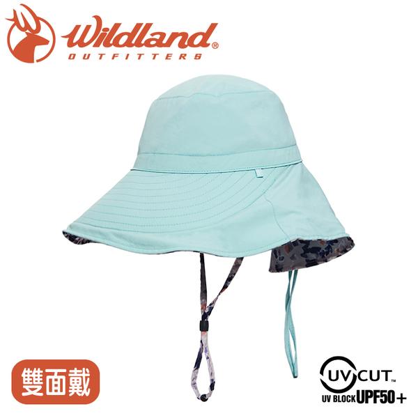 【Wildland 荒野 女 抗UV印花雙面優雅遮陽帽《湖水綠》】W1065/防曬帽/圓盤帽/漁夫帽/淑女帽/園藝