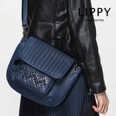 LIPPY  鉚釘裝飾-斜背包Crossbody瑪塔Marta-深藍