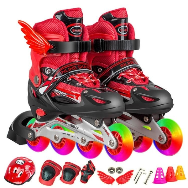 溜冰鞋兒童全套裝可調閃光直排輪小孩輪滑鞋滑冰鞋旱冰鞋男童女童 快速出貨