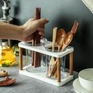 簡約防霉塑料筷子筒籠 防塵瀝水多功能廚房置物架收納簍 黛尼時尚精品