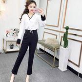 夏裝新款韓版洋氣哈倫褲時髦套裝職業女裝褲子春裝兩件套女潮 Cocoa