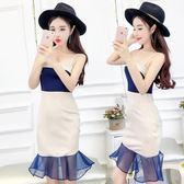 一字领洋裝 夏季新款韓版時尚荷葉邊性感歐根紗女裝 IV1311【衣好月圓】