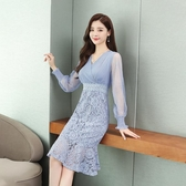 蕾絲洋裝 2020春氣質穿搭秋新款名媛修身顯瘦連身裙女中長款蕾絲包臀魚尾裙完美