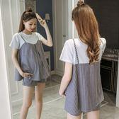 *漂亮小媽咪*韓國 兩件式 短袖 條紋 假兩件 傘狀 寬鬆 孕婦 套裝 孕婦短褲 托腹褲 CP0008