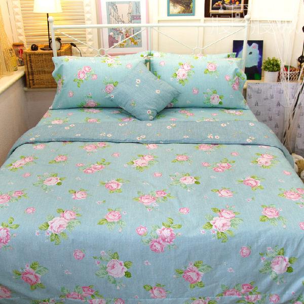 涼被組/單人床包3件組-【夢遊花綠】100%精梳純棉 #大鐘印染 #台灣製造