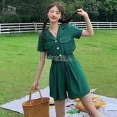 工裝連體褲女夏季2021新款小香風連衣褲子高腰顯瘦減齡闊腿褲套裝 快速出貨
