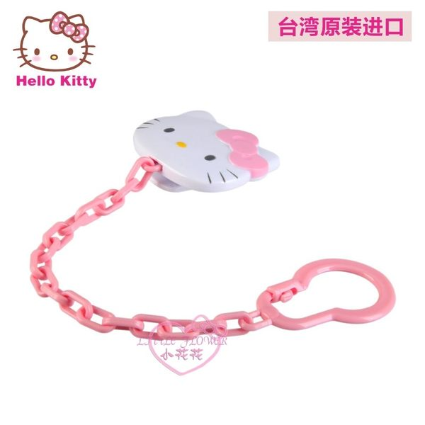 ♥小花花日本精品♥Hello Kitty經典大頭造型嬰兒用品寶寶安撫奶嘴鍊粉紅鍊條55001502