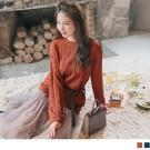 《FA2196》溫暖針織麻花織紋長袖毛衣/上衣 OrangeBear