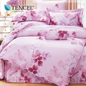 【貝兒居家寢飾生活館】100%萊賽爾天絲兩用被床包組(特大雙人/卉影粉)