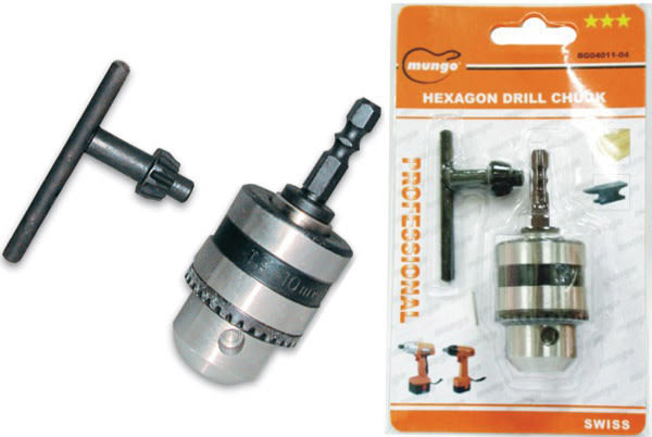 3分鐵夾頭組 (鐵夾頭+六角軸接桿+扳手) ~充電攻牙機專用