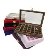 絨布小號珠寶箱 美甲飾品展示盒帶玻璃蓋子珠寶小飾品收納盒鑚盒 卡布奇诺igo