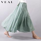 夏季新款棉麻文藝複古半身裙 面麻素面高腰不規則大擺中長裙子女薄