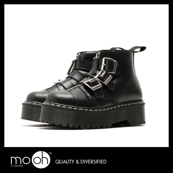 厚底龐克鞋 馬丁靴 金屬扣搖滾短靴 mo.oh (歐美鞋款)