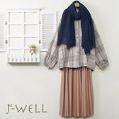 J-WELL 厚款落肩格紋襯衫壓褶裙兩件組(組合A645 9J1023米+9J1094粉)
