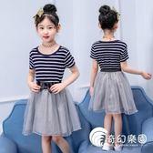 女童洋裝-女童夏裝連身裙2018新款公主裙中大童韓版網紗裙5-15歲條紋表演裙-奇幻樂園