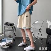 韓版假兩件短褲 男寬鬆潮流休閒褲夏季直筒運動褲學院風純色五分褲 JX769【衣好月圓】