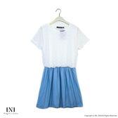 【INI】好感風格、腰鬆緊一件式設計長版上衣.水藍色