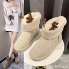 雪靴 鞋子新款女韓版防滑棉鞋女可愛麋鹿角雪地靴加絨短筒雪地靴女 俏girl